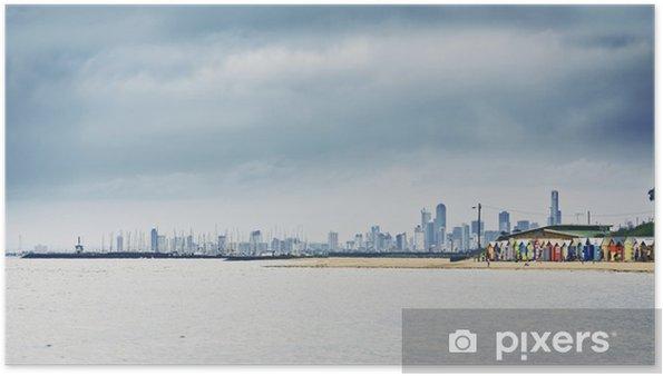 Poster Brighton Bay beachhouses - Eau
