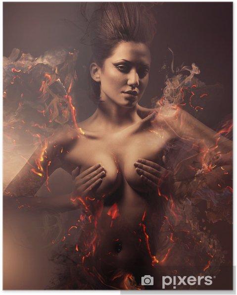 Poster Brinnande erotiska sexig vacker kvinna i smutsig dimma - iStaging