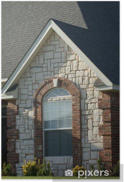 Poster Brique et de pierre fenêtre cintrée - Maisons et jardins