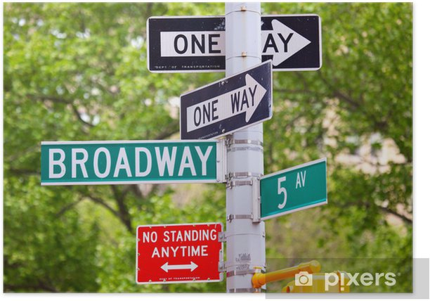 Broadway, 5th avenue and One Way Street Signs, New York Poster - Signs and Symbols