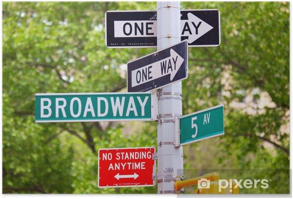 Póster Broadway, la avenida 5 y One Way Street Signs, Nueva York - Señales y símbolos