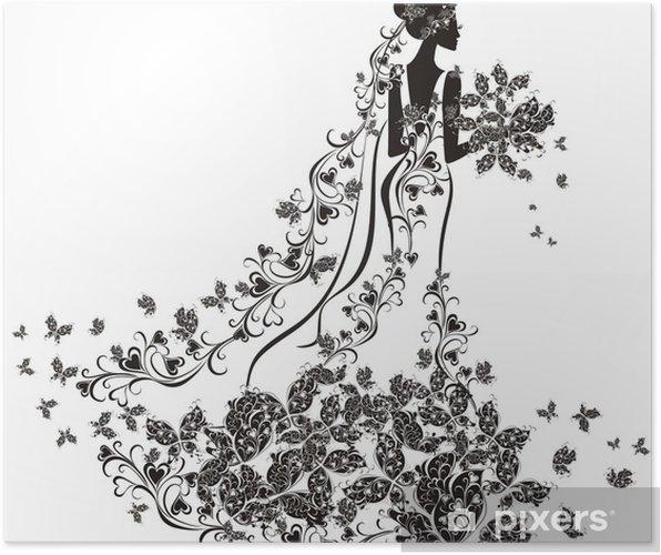8ab6eab331f5 Poster Bröllop bakgrund - brud i blommig klänning • Pixers® - Vi ...
