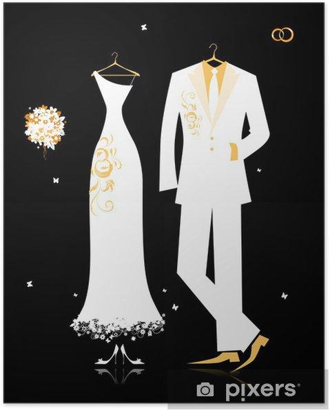 a0a40c8675ed Poster Bröllop brudgummen kostym och brudens klänning vitt på svart -  Firande