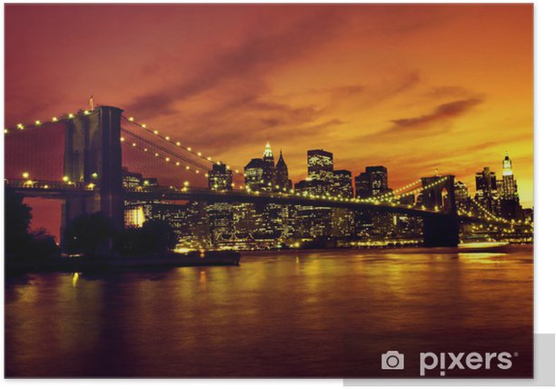 Brooklyn Bridge and Manhattan at sunset, New York Poster -