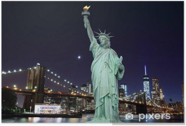 Poster Brooklyn Bridge en het Vrijheidsbeeld bij nacht - Brooklyn Bridge