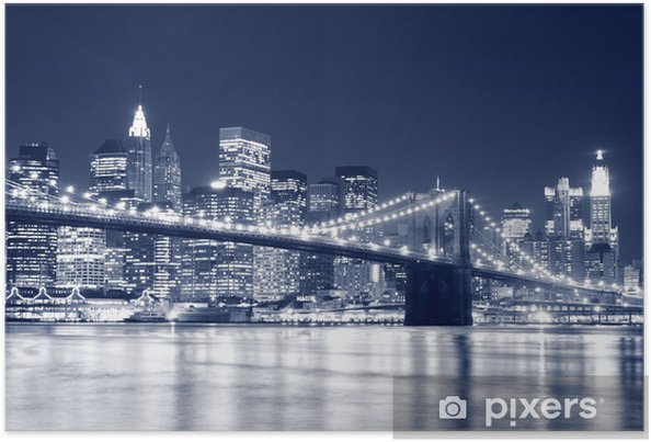 Poster Brooklyn Bridge en Manhattan Skyline At Night, New York -