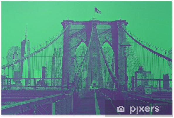 Poster Brooklyn bridge met vlag op de top. duotoon stijl. - Reizen