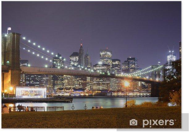 Poster Brooklyn Bridge scène de nuit - Brooklyn Bridge