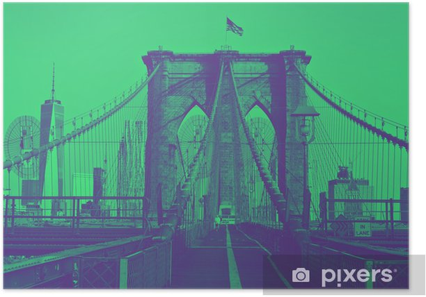 Brooklyn Bridge with flag on top. Duotone style. Poster - Travel