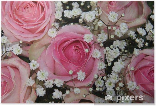 Poster Bruiloft arrangement met roze rozen - Viering