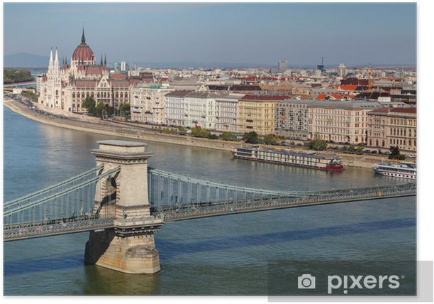 Poster Budapest - panorama du château - Europe