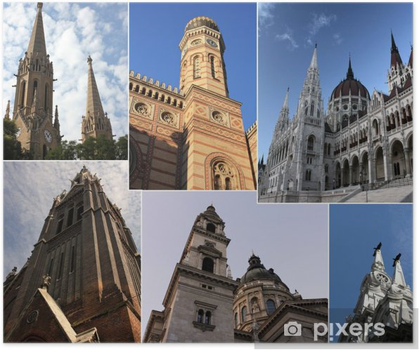 Poster Budapest par jour - collage - Europe