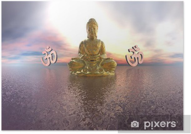 Buddha and aum symbol - 3D render Poster - Signs and Symbols