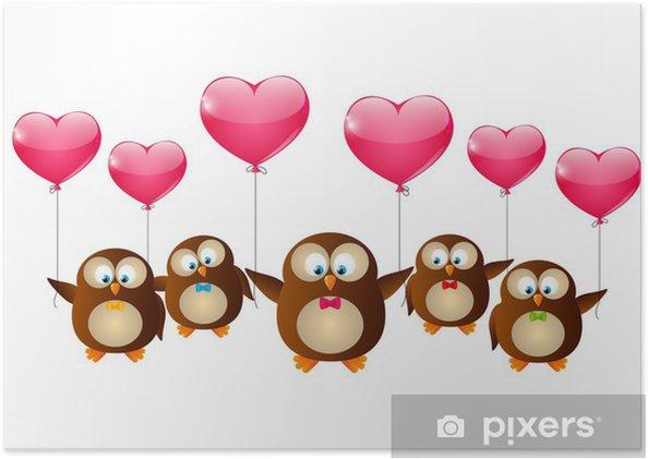 Póster Búhos día de San Valentín con globos de color rosa • Pixers ...