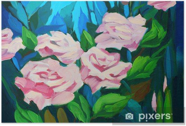 Poster Buisson De Roses Peinture A L Huile Sur Une Toile
