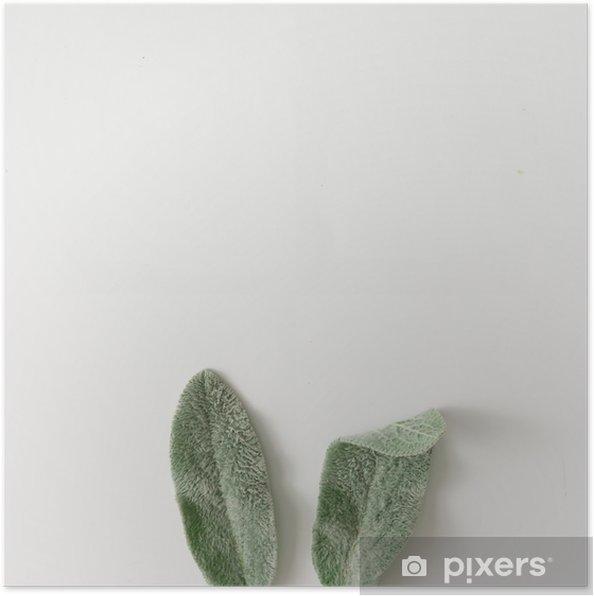 Poster Bunny oren gemaakt van lammeren oren plant bladeren. - Grafische Bronnen
