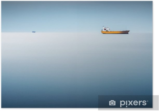 Póster Buque de carga en el mar - una larga exposición para que el mar como un resumen de antecedentes - Transportes