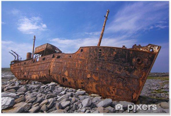 Póster Buque de carga naufragó durante una tormenta frente a las costas de - Temas