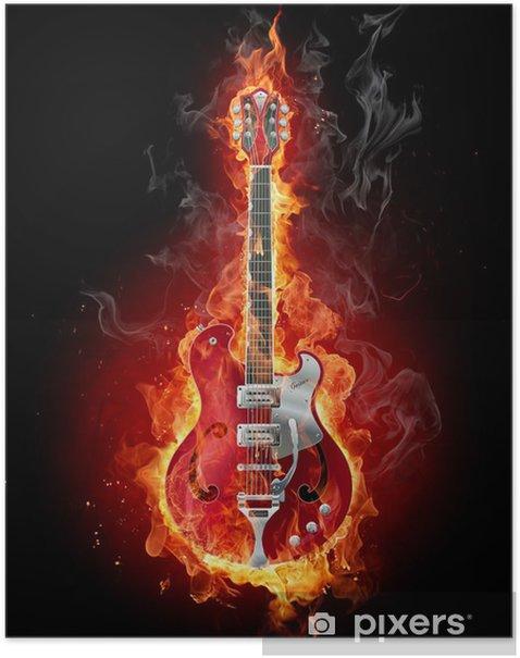 Burning guitar Poster - Jazz