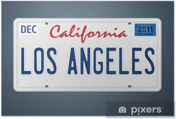 Poster CA kenteken Los Angeles - Tekens en Symbolen