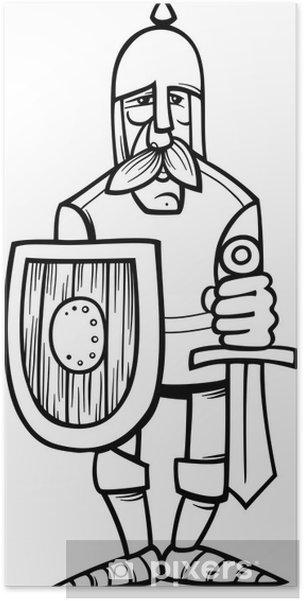 Póster Caballero de la página para colorear dibujos armadura ...
