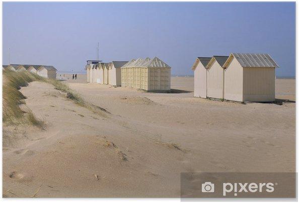 Poster Cabines de plage à Ouistreham en Normandie en france - Vacances
