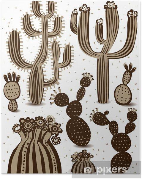 Poster Cactus ensemble - Fleurs