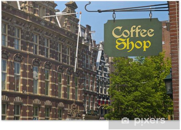 Poster Café Connexion à Amsterdam - Villes européennes