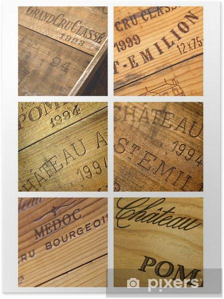 Póster Caja de vino, vendimia castillo Burdeos bodega lagar - Alcohol