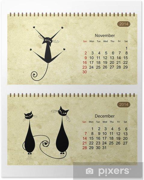 Poster Calendrier 2014, avec les chats noirs sur le papier grunge - Mammifères