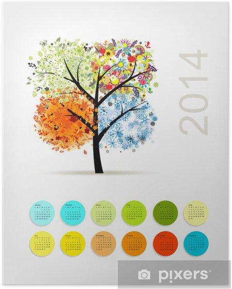 Poster Calendrier 2014, avec quatre arbres de la saison pour votre conception - Saisons