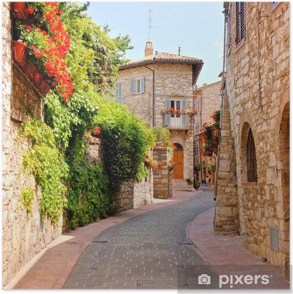 Póster Calle de la flor forrado en la ciudad de Asís, Italia - Temas