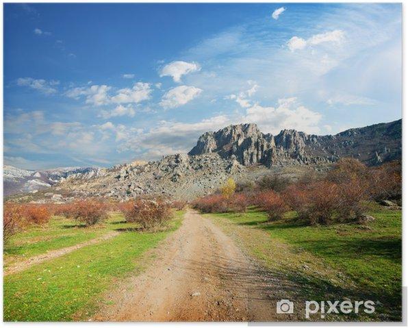Póster Camino a las montañas - Montañas