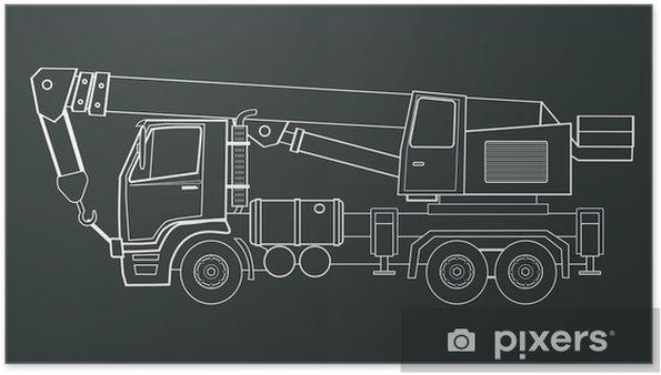 Póster Camión grúa vector - Maquinaria