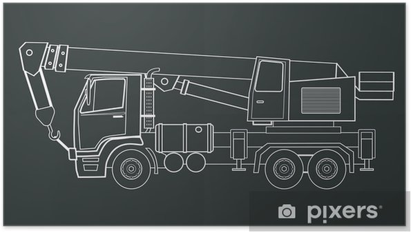 Poster Camion-grue vecteur - Machines