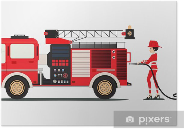 Poster Camion pompier - Vie