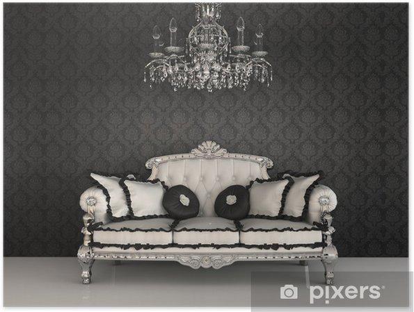 Poster Canapé royal avec des oreillers et lustre dans l'esprit intérieur luxueux - Vacances