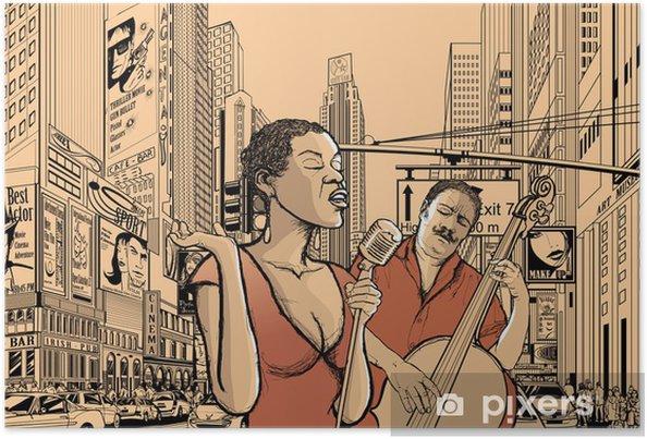 Póster Cantante de jazz y bajo doublle - Jazz