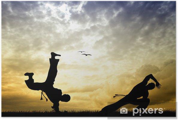 Poster Capoeira silhouette au coucher du soleil - Thèmes