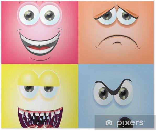 Póster Caras de la historieta con emociones - Felicidad