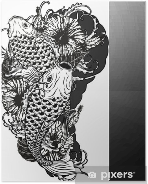 85662d54f Carp fish and chrysanthemum tattoo by hand drawing.Tattoo art highly  detailed in line art style. Poster