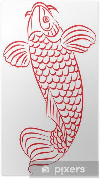 Poster Carpe Le Poisson Rouge Le Japonais Ou Le Dessin De Style