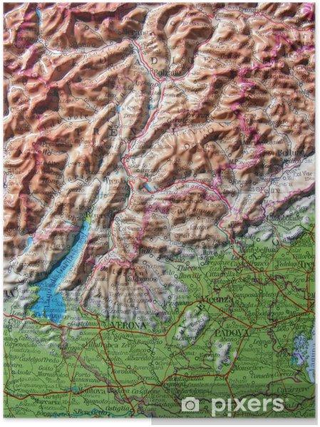 Poster Carta geografica del Trentino Alto Adige - Objets et accessoires