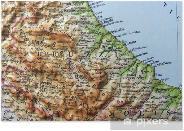Molise Cartina Stradale.Carta Geografica Dell Abruzzo E Del Molise Poster Pixers We Live To Change