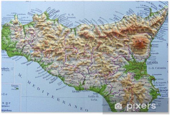 Cartina Geografica Della Sicilia.Carta Geografica Della Sicilia Poster Pixers We Live To Change