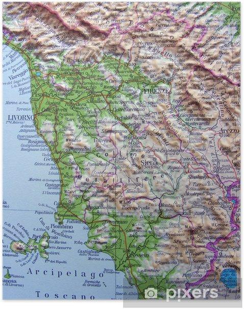 La Toscana Cartina Geografica.Carta Geografica Della Toscana Poster
