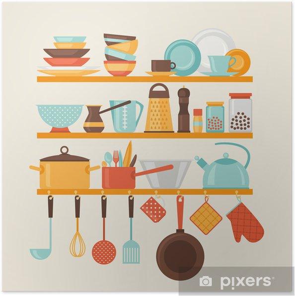 Poster Carte avec des étagères de cuisine et ustensiles de cuisine dans le style rétro. - Thèmes