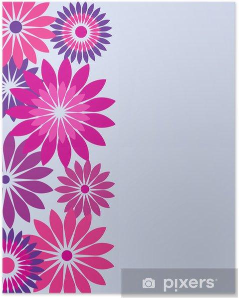 Poster Carte D Anniversaire Avec Des Fleurs De Rose Et Violet