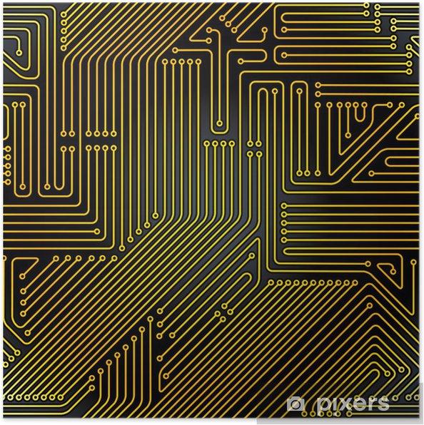 Poster Carte de circuit imprimé d'ordinateur, seamless. - Electronique