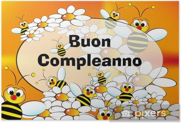 Carte Anniversaire Italien.Poster Carte De Joyeux Anniversaire Italien Pixers Nous